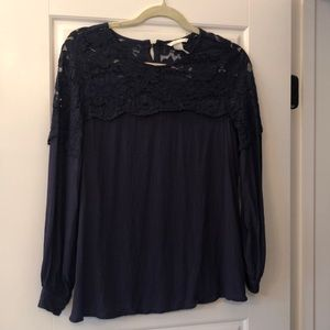 H&M Mama Navy Lace Maternity Top
